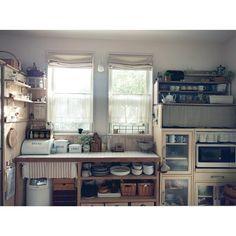 2016/01/03/ベルメゾンの食器棚/DIY板壁/板壁/古いもの/見せる収納…などのインテリア実例 - 2016-01-03 08:42:15 | RoomClip(ルームクリップ)