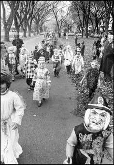 """Halloween was the time to refill supplies of candy and you had to range far and knock on a lot of doors well after dark. Smart kids brought extra bags and ditched the hot plastic masks. I never saw anybody """"tricking"""" but you did have to avoid the big kids who might steal your treats."""
