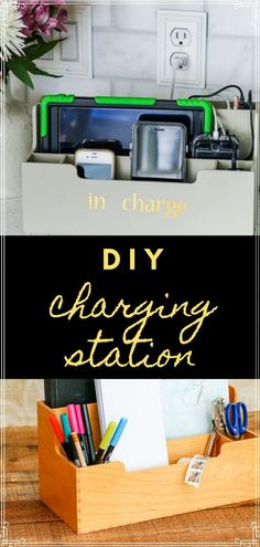I'm curious where you charge your devices? Is the kitchen where they all get deposited or have I been doing this all wrong? Wherever you decide to put them, here is a cute way to consolidate and organize them! Kitchen Desks, Simple Desk, Desk Organization, Organizer, Craft Tutorials, Thrifting, Diy Crafts, Office Ideas, Desk Ideas