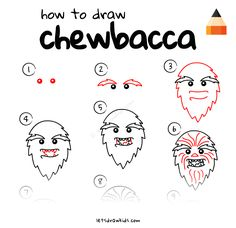 Learn How To Draw Chewbacca with this step-by-step tutorial and video. Star Wars Drawings, Doodle Drawings, Easy Drawings, Disney Crafts For Kids, Cute Kids Crafts, Chewbacca, Star Wars Painting, Drawing Stars, Children Sketch