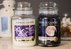 Yankee Candle Large Jars in Midnight Jasmine and Midsummers Night.