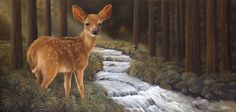 """Who's there?"" by Laura Regan. #art #oilpainting #animals #deer #wildlife #realism #nature #contemporaryart"