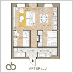 """AB Design on Instagram: """"Mission impossible - that's how I reacted to the idea create two bedrooms in 38 sq meter apartment. However after careful planning I've got…"""" Small Apartment Plans, Small Apartments, Two Bedroom, Bedrooms, Mission Impossible, Tiny House Plans, Tiny House Design, Tiny Living, Living Room Kitchen"""