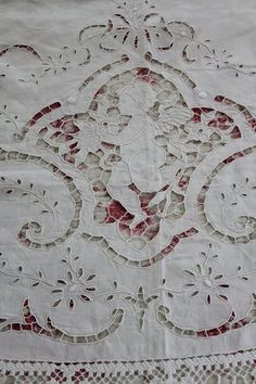 antique cutwork bedspread, cherub