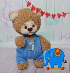 Купить Медвежонок Тимошка - синий, мишка игрушка, мишка, мишка мальчик, мишка в одежде