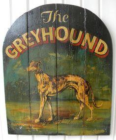 "Folk Art Sign Painted GREYHOUND Sign 30"" x 24"""