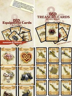 CHAMPIONS! This is an amazing job made by Paul Weber: over 450 printable cards in free PDF. Equipment, Treasure and Condition: with gear, items, vehicles, food, mounted equipment, weapons, armor, g…