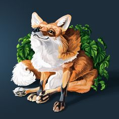 Illustration of a happy red fox sitting in leaves, based on an image of Juniper Fox, interpreting the form to emphasize the emotion - by Alida Loubser (Artwork medium: Digital painting in Adobe Photoshop, Wacom Intuos tablet) Wacom Intuos, Red Fox, Adobe Photoshop, Leaves, Photo And Video, Digital, Medium, Illustration, Happy