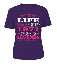 # 1971 - Legends Woman .  ***Limited Edition. Not available in stores***More years click here:https://www.teezily.com/stores/legendswomanClick the GREEN BUTTON, select your style, color and order.  ***T-shirt, Long Sleeve and Hoodie available in multiple colors***  Only available for a Limited Time. Get yours ASAP.