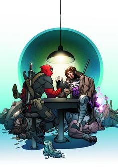 Deadpool V Gambit #3 Variant Cover by Pasqual Ferry | Read More: http://www.deadpoolbugle.com/2016/07/deadpool-v-gambit-3-variant-cover-by.html