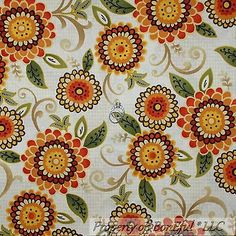 BonEful-Fabric-FQ-Cotton-Quilt-Cream-Red-Orange-Green-Flower-Lg-Leaf-Swirl-Boho