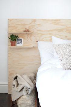 Diy plywood headboard - sengegavl i kryssfiner Plywood Furniture, Plywood Headboard Diy, Diy Headboards, Diy Furniture, Diy Storage Headboard, Plywood Floors, Modern Furniture, Furniture Design, Diy Storage Boxes