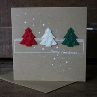 The card is carefully crafted by me, one of a kind, with handwriting and felt tree embellishments. Blank inside. Materials used: heavyweight card stock, felt embellishments. Size: 15 x 15 cm, matching envelope is a little bigger :) It will be wrapped i...