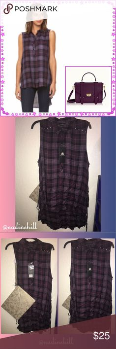 🆕ITEM NWT R&R TANK TOP HI/LOW (MAKE A OFFER)💜 💜💜 NWT Rock & Republic plaid hi/low style tank top. Colors are purple, black, & grey colors w/silver stud detail on shoulders. Comes from smoke free & pet free hm. Size is a XL can fit number size 12/14. Make me a reasonable offer or bundle w/other items & make a offer or I'll make you a offer. Thanks 4 stopping by Be Blessed 💜💜 Rock & Republic Tops Tank Tops