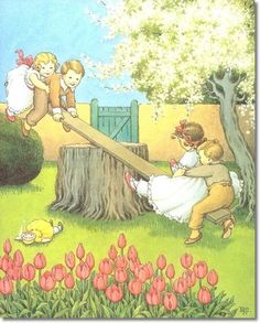 by Ida Rentoul Outhwaite - See Saw Margery Daw Painting Type Illustration, Artists For Kids, Picture Story, Imagines, Vintage Children's Books, Vintage Greeting Cards, Pretty Art, Vintage Pictures, Nursery Rhymes