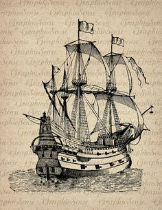 Caravel -Old Sailing Ship Engraving - Printable Graphics Digital Collage Sheet…