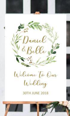 Garden wedding signs printable, greenery wedding welcome sign wedding, wedding decor, garden wedding ideas from Pink Summer Designs on Etsy #weddingdecoration