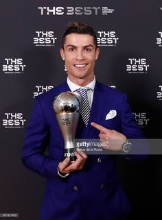 Cristiano Ronaldo of Portugal and Real Madrid poses with his The Best FIFA Men's Player Award after The Best FIFA Football Awards at TPC Studio on January 9, 2017 in Zurich, Switzerland.
