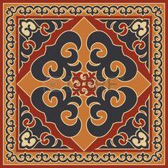 buryat: Asian style ornament, ethnic background. Mongolian, Buryat, Kalmyk, Kazakh traditional motifs