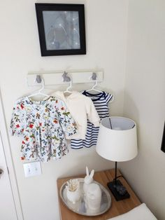 Clothes hanging pegs: Homemade using cabinetry pulls from Anthropologie