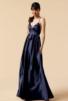 Brides.com: Navy Blue Bridesmaid Dresses. Style 6210, soft satin bridesmaid dress in twilight, $244, Watters  available at Weddington Way  See more Watters bridesmaid dresses.