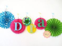 Fabric Name banner with  Tissue Pinwheel  by BellaandTeoBoutique, $5.00