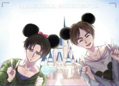 Levi and Eren in Disneyland :D #Attack on Titan