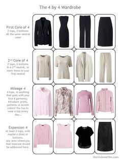 a 4 by 4 Wardrobe in black, taupe and pink