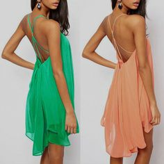 New 2014 Hot Sale Plus Size Women Swimwear Fashion Women's Halter Backless Chiffon Beach Dress Swing Sundress Novelty Dress US $9.25