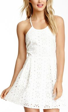 Madison Marcus Lace Silk Tank Dress