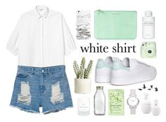"""Wardrobestaples : The White Shirt"" by katerina-rampota ❤ liked on Polyvore featuring Monki, India Mimi, Byredo, Allstate Floral, Crate and Barrel, Jayson Home, H&M and adidas"
