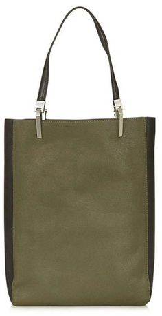 Topshop 'Drake' Two-Tone Faux Leather Shopper in Olive and Black - from Nordstrom #aff