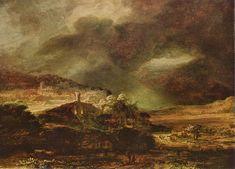 Stadt auf einem Hügel bei stürmischem Wetter by Rembrandt Harmensz