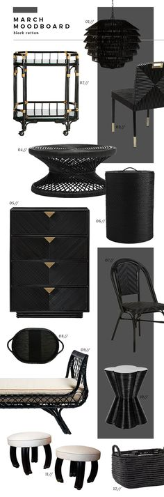 March Moodboard : Black Rattan for Spring - Room for Tuesday