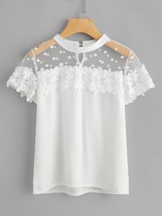 Feitong Summer Women Sexy Blouses Causal Short Sleeve Chiffon Lace Tops And Blouse Women Clothes blusas mujer de moda 2018 New Mode Outfits, Fashion Outfits, Womens Fashion, Fashion News, Latest Fashion, Outfit Chic, Mode Top, Sexy Blouse, Crochet Blouse