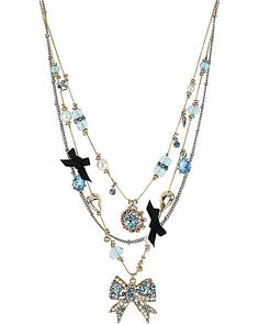 BOW ILLUSION NECKLACE BLUE accessories jewelry necklaces fashion, Betsey Johnson.  This is so pretty!!!