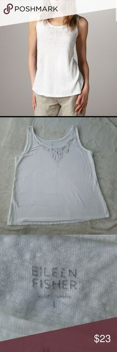 Eileen Fisher White Classic Sequined Linen Tank L Pre-owned Women's Eileen Fisher White Classic Sequined Linen Tank Size L  Missing the care tag. Eileen Fisher Tops Tank Tops
