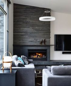 17 Modern Fireplace Tile Ideas Best Design Interior Design pertaining to Contemporary Fireplace - Home Interior Design Modern Fireplace Tiles, Home Fireplace, Fireplace Remodel, Living Room With Fireplace, Fireplace Surrounds, Fireplace Ideas, Contemporary Fireplaces, Fireplace Hearth, Grey Fireplace