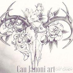 The perfect sternum tattoo Deer Skull Tattoos, Deer Head Tattoo, Skull Tattoo Flowers, Flower Tattoo Drawings, Deer Skulls, Flower Skull, Head Tattoos, Time Tattoos, Animal Skulls