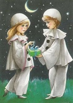 Pierrot e Pierrette - Pierrot e Pierrette The Effective Pictures We Offer You About salute manga A quality picture can t - Pierrot Clown, Send In The Clowns, Clown Faces, Clowning Around, Sun And Stars, Gif Animé, Moon Child, Caricatures, Vintage Images