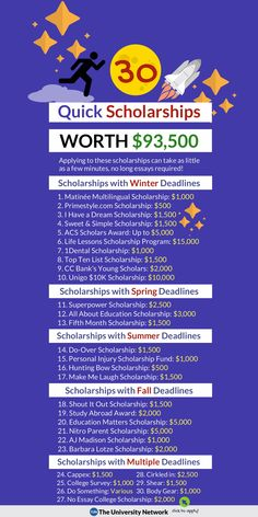 30 Schnellstipendien im Wert von USD Applying to these scholarships can take as little as a few minutes, no long essays required! Scholarships Canada, Scholarships For College Students, Nursing Scholarships, Financial Aid For College, College Planning, Financial Planning, College Life Hacks, Life Hacks For School, School Study Tips