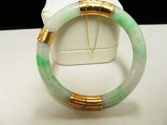 Vintage 14KT Gold Hinge Apple Green and White Jade Bracelet, Aloha Memorabilia Company, alohamemorabilia.com, Sandy Watanabe, Craig Watanabe, Jade bracelet, Jade jewelry, Jade Jewelry, Jewlery, Jewelry Bracelets, Jewelry Accessories, Bangles, Water Gems, Imperial Jade, Chinese Hairpin, Jade Bracelet