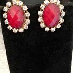 Deep red shade stone zirconia lobster clasp earrings