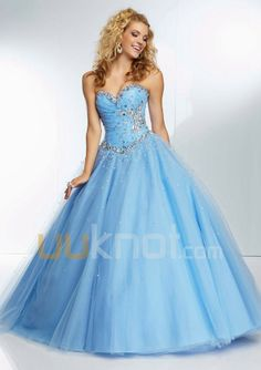 Ball Gown Sweetheart Floor Length Tulle Prom Dress - UUknot.com