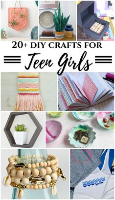 20 DIY Crafts for Teen Girls - June MM 20 Crafts for Teen Girls -Summer Boredom Busters. 20 DIY Crafts for teen girls. Perfect summer boredom buster ideas to make jewelry, home decor items, outdoor ideas, and more! Easy Crafts For Teens, Diy Crafts For Teen Girls, Diy And Crafts Sewing, Craft Projects For Kids, Diy For Teens, Diy Crafts For Kids, Teen Diy, Creative Crafts, Diy Teen Projects