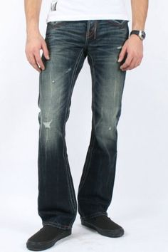 HELIX Dark Blue Denim BOOT-CUT Jeans w/ LEATHER CROSS POCKETS Men ...