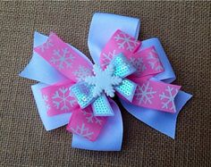 Pink and White Snowflake Hair Bow Snowflake by RosieMaeBowtique, $6.00