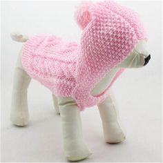 Venta al por mayor 2015 nuevos pequeños ropa para perros de invierno tejidas a mano suéter del perro suéter de lana para mascotas patrón de diamante con capucha 10 unids/lote