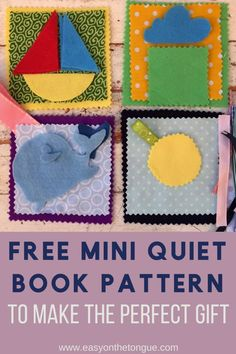 Free Mini Quiet Book Pattern to make the perfect gift quietbook quietbookpattern miniquietbook sensorypages activitybook toddlerbook 1 Free Mini Quiet Book Pattern for you to Make the Perfect Gift Diy Quiet Books, Felt Books, Mini Books, Ya Books, Quiet Book Templates, Quiet Book Patterns, Diy Crafts To Sell, Easy Crafts, Sell Diy