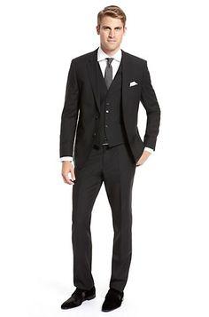 Modern Fit Virgin Wool Pinstripe 'James/Sharp' Three-Piece Suit, Black